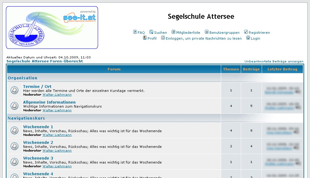 Screenshot des Forums